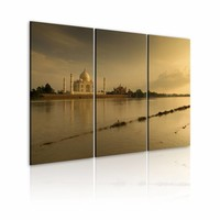 Schilderij - Taj Mahal, India, Sepia, 3luik, wanddecoratie