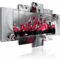 Schilderij - Droom over Sydney, Rood/Zilver, 5luik, wanddecoratie