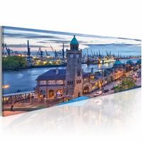 Canvas Schilderij - Hamburg - haven, Blauw, 120X40, 1luik