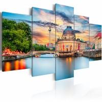 Canvas Schilderij - Museum Eiland - Berlijn , multi kleur , 5 luik , 2 maten