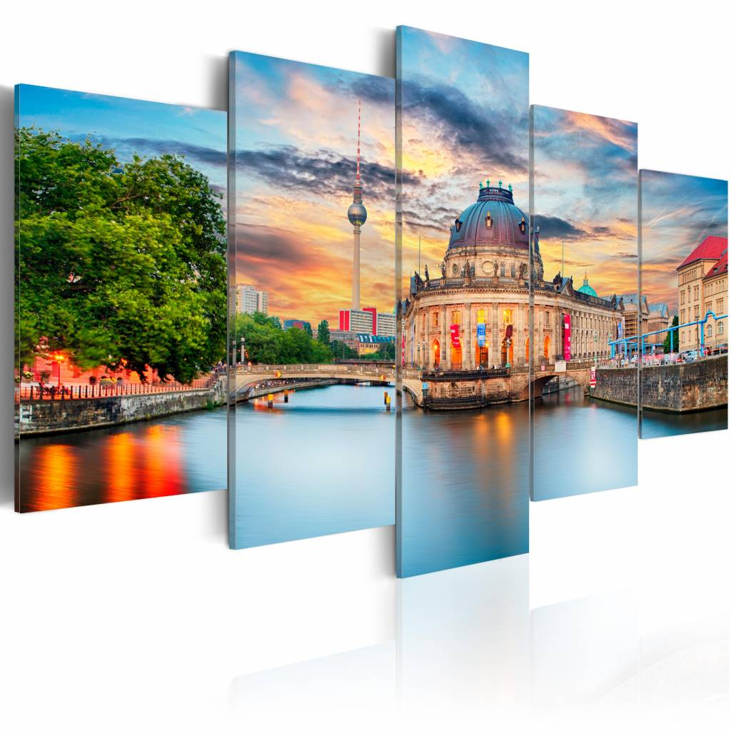 Schilderij - Museum Eiland - Berlijn , multi kleur , 5 luik , 2 maten