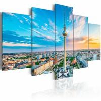 Schilderij - Berlijnse TV Toren, Duitsland , multi kleur , 5 luik