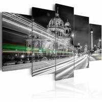 Schilderij - Berlijn in de Avond , grijs wit , 5 luik