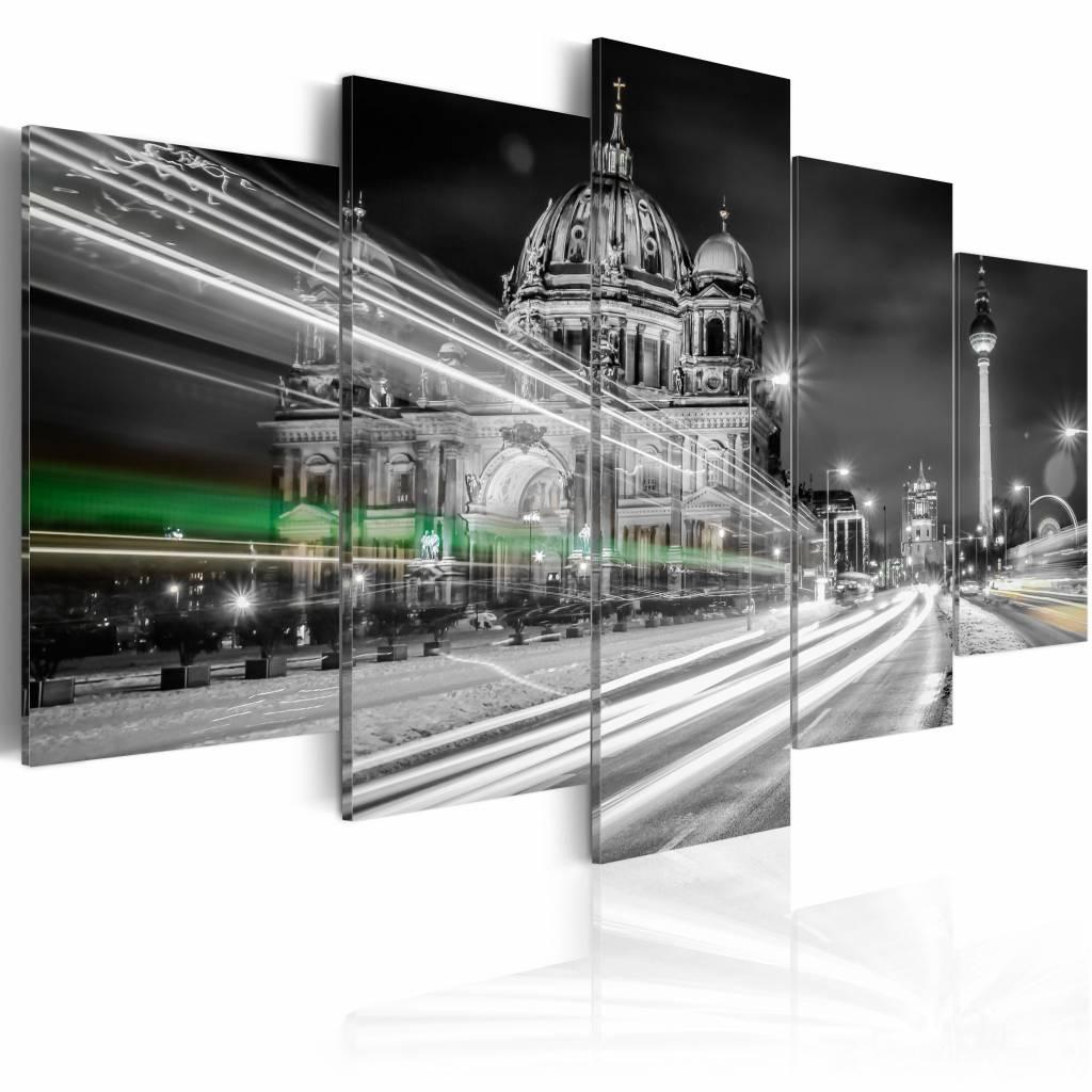 Schilderij - Berlijn in de Avond , grijs wit , 5 luik , 2 maten