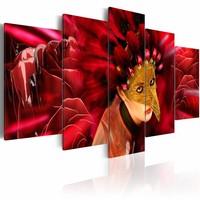 Schilderij - Carnaval van passie, Rood, 2 Maten, 5luik