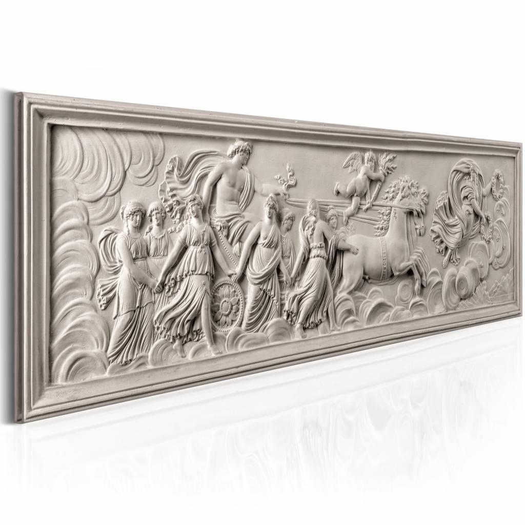 Schilderij - Reli�f: Apollo en Muses 150X50 , beige , 1 luik