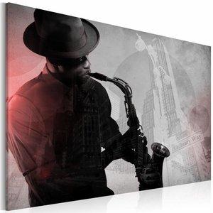 Canvas Schilderij - Urban Jazz, Grijs, 2 Maten, 1luik