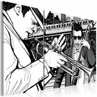 Schilderij - Jazzconcert in New York, Zwart-Wit, 3luik, wanddecoratie