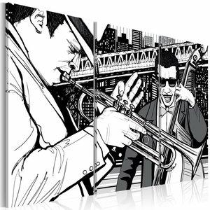 Schilderij - Jazzconcert op de achtergrond van wolkenkrabbers van New York, Zwart-Wit, 2  Maten, 3luik