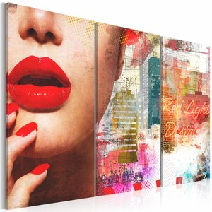 Canvas Schilderij - Red Light District, Multi-gekleurd, 2 Maten, 3luik