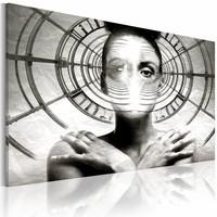 Canvas Schilderij - Hypnose, Zwart-Wit, 2 Maten, 1luik