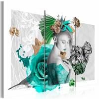 Schilderij - Individualist, Groen/Blauw, 3luik, Premium print
