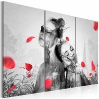 Schilderij - Natuurlijke Schoonheden, Zwart-Wit/Rood, 3luik