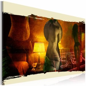Schilderij - Achter Gesloten Deuren, Geel/Rood, 1luik