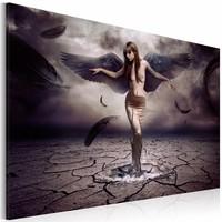 Schilderij - Zwarte Engel, Grijs/Paars, 1luik