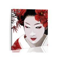 Schilderij - Japanse Geisha, Rood/Wit, 1luik, Premium print