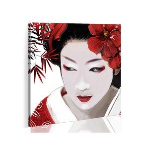 Schilderij - Japanse Geisha, Rood/Wit, 2 Maten, 1luik