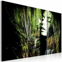 Schilderij - Geobsedeerd, Groen/Zwart, 2 Maten, 3luik