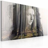 Canvas Schilderij - Bosnimf, Groen/Bruin, 2 Maten, 3luik
