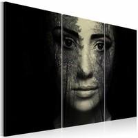 Schilderij - Bos camouflage, Zwart/Beige, 2 Maten, 3luik
