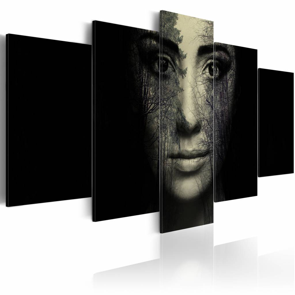 Schilderij - Bos Camouflage, Zwart/Beige, 5luik wanddecoratie
