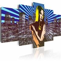 Schilderij - Vrouw in de grote stad, pop art, Multi-gekleurd, 2 Maten, 5luik