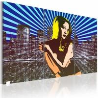 Schilderij - Vrouw in de grote stad, pop art, Multi-gekleurd, 2 Maten, 3luik