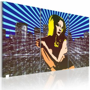 Schilderij - Pop Art - Vrouw in de Grote Stad, Multi-gekleurd, 3luik