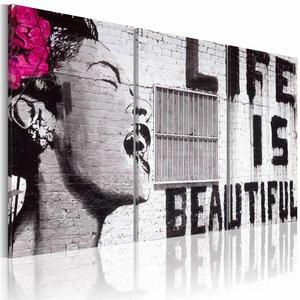 Canvas Schilderij - Life is beautiful, Banksy, Zwart-Wit/Roze, 2 Maten, 3luik