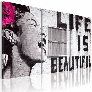 Schilderij - Life is beautiful, Banksy, Zwart-Wit/Roze, 2 Maten, 3luik