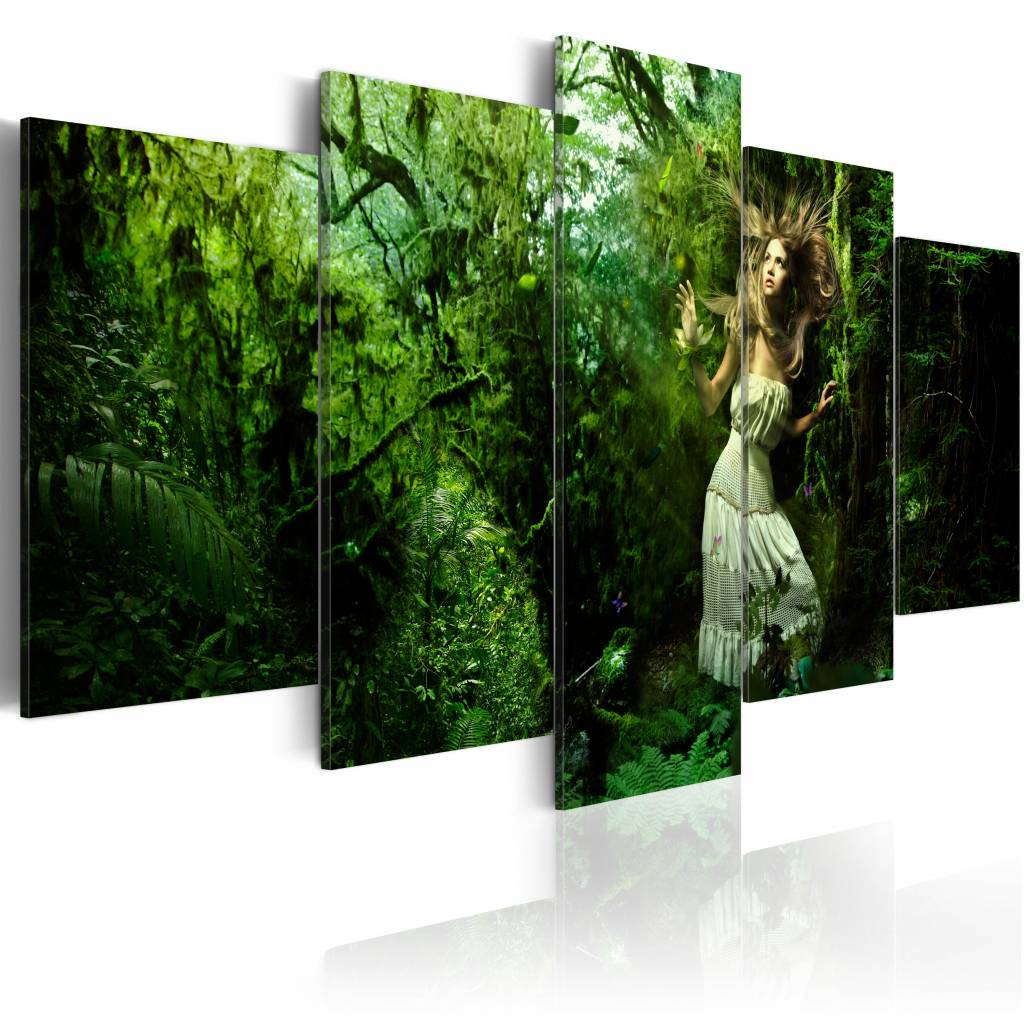Schilderij - Verdwaald in het Bos, Groen, 5luik, premium print