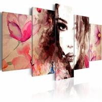 Schilderij - Poëzie van het fluisteren, Roze, 2 Maten, 5luik
