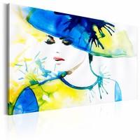 Schilderij - De Elegantie van de Lente, Blauw/Geel, 1luik