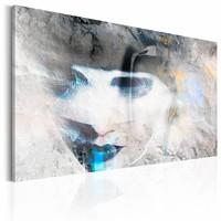 Schilderij - Blauwe Lippen, 1 luik, Grijs/Blauw, wanddecoratie