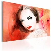 Schilderij - Mysterieuze Blik, Roze/Oranje, wanddecoratie