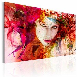 Schilderij - Vrouw is een raadsel, rood , 1-luik , 2 maten