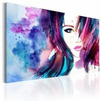 Schilderij - Watercolor Girl, Paars/Blauw, premium print