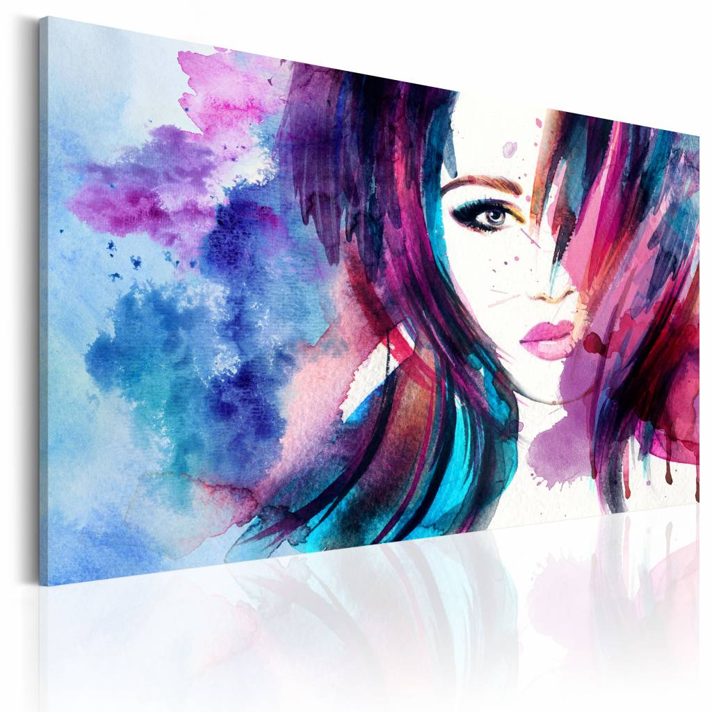 Schilderij - Watercolor Girl, Paars/Blauw