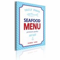 Canvas Schilderij - Seafood menu, Blauw, 60x40cm, 1luik