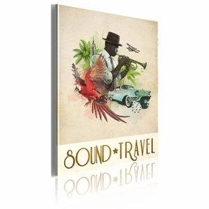 Canvas Schilderij - Sound and Travel, Multi-gekleurd, 60x40, 1luik