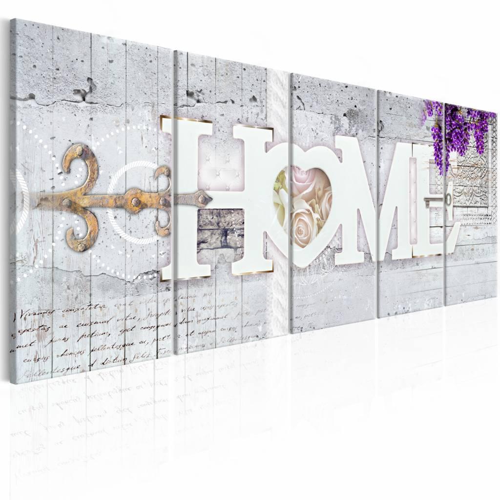 Schilderij - Geheim tot Geluk - Home , paars beton look , 5 luik , 2 maten