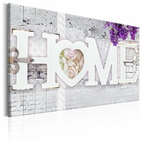 Schilderij - Geheim tot Geluk - Home , paars beton look , 1 luik