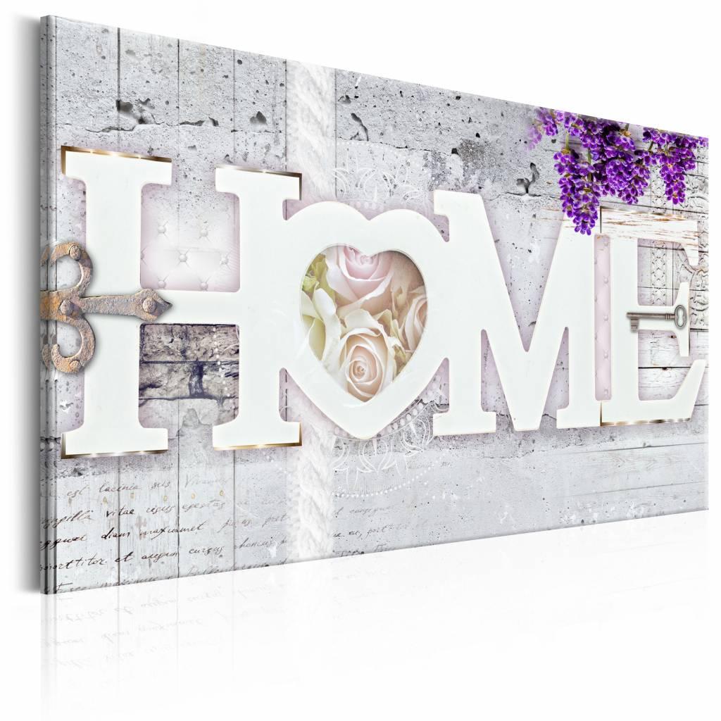 Schilderij - Geheim tot Geluk - Home , paars beton look , 1 luik , 2 maten