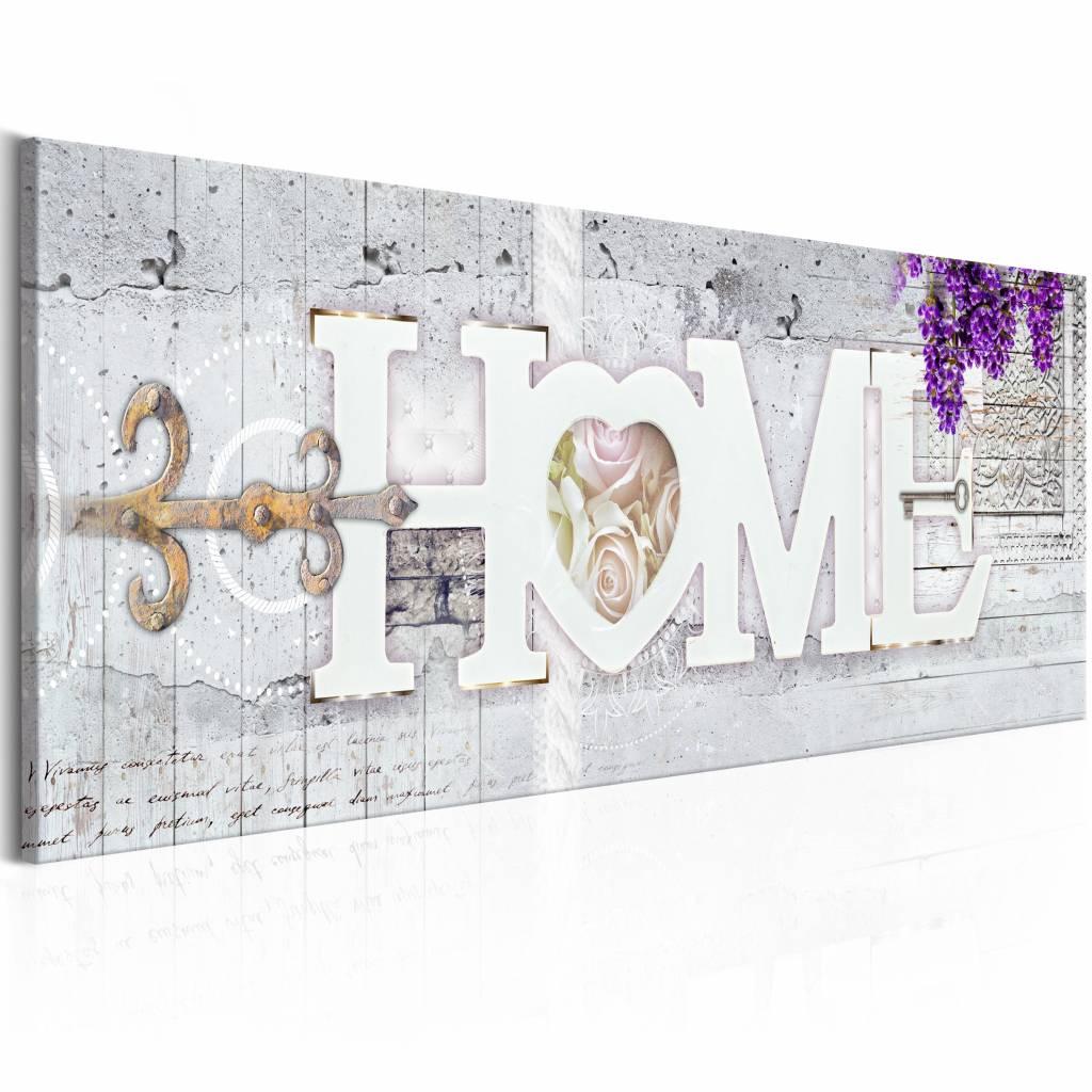 Schilderij - Sleutel tot geluk - Home , beton look , 1 luik , 3 maten