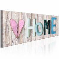 Schilderij - Kleurrijk Home , houtlook , 1 luik