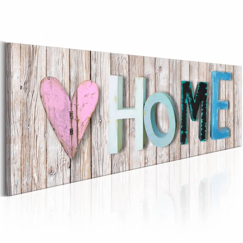 Schilderij - Kleurrijk Home , houtlook , 1 luik , 3 maten