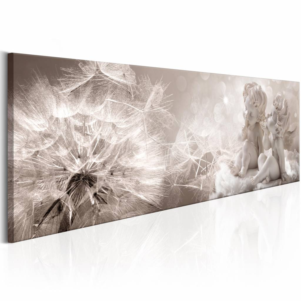 Schilderij - Paardenbloem en Engelen 150X50 , beige wit , 1 luik