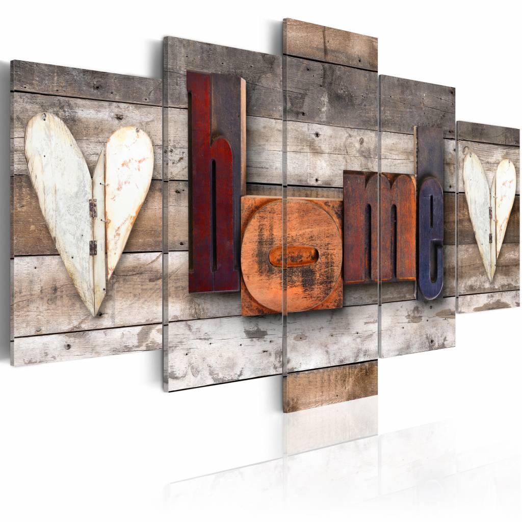 Schilderij - Betoverend Huis - Home , bruin , hout look , 5 luik , 2 maten