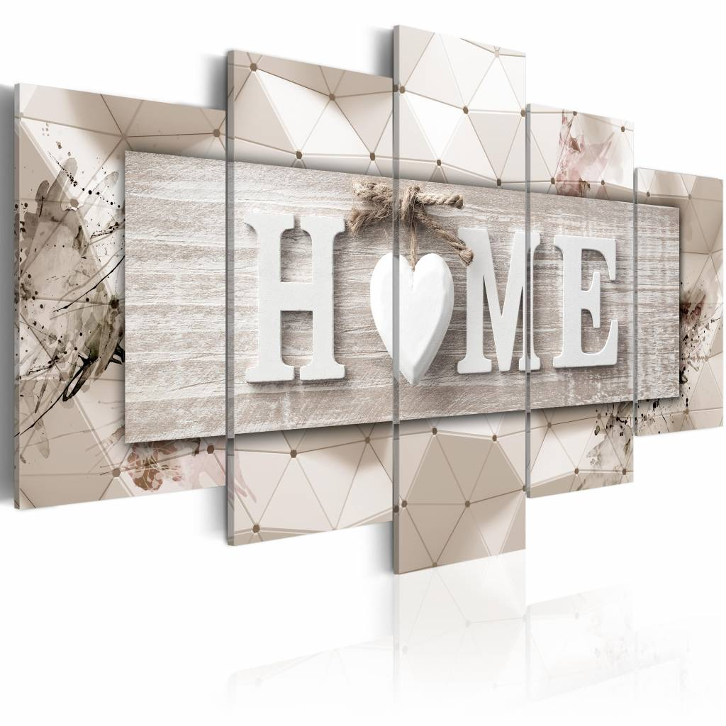 Schilderij - Moderne Geometrie - Home , beige , 5 luik , 2 maten