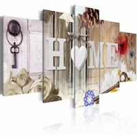 Schilderij - Gevarieerd Huis - Home , wit , multi kleur , 5 luik